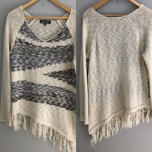 Boho fringe v neck sweater Asymmetric Hem